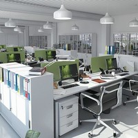 stylish office equipment workplaces 3d model
