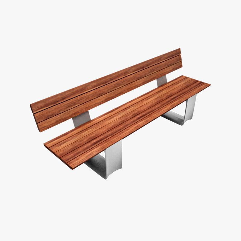 bench outdoor public 3d 3ds