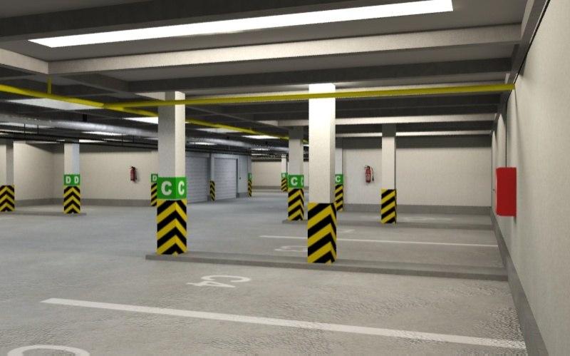 3d underground parking model