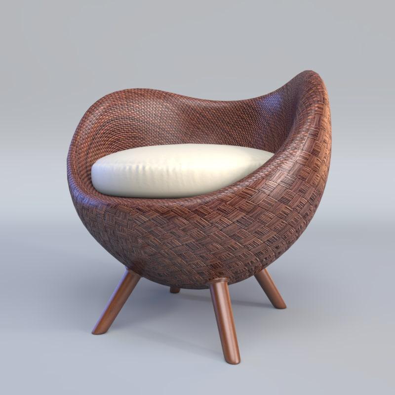 3d model la luna arm chair