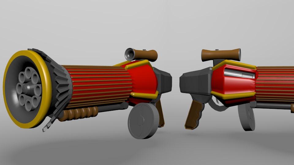 cartoony badass pump shotgun 3d 3ds