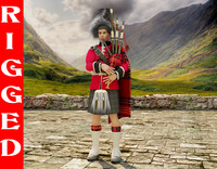 3d scottish piper