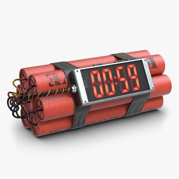 3d model time bomb digital timer