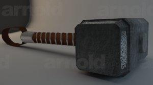 replica hammer thor 3d model