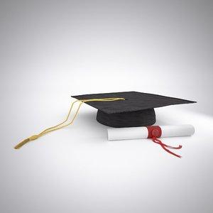 3d hat diploma model