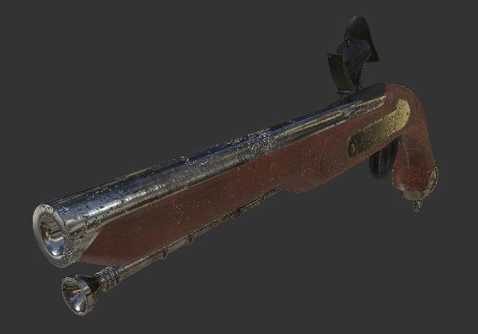 musket gun wearing 3d model