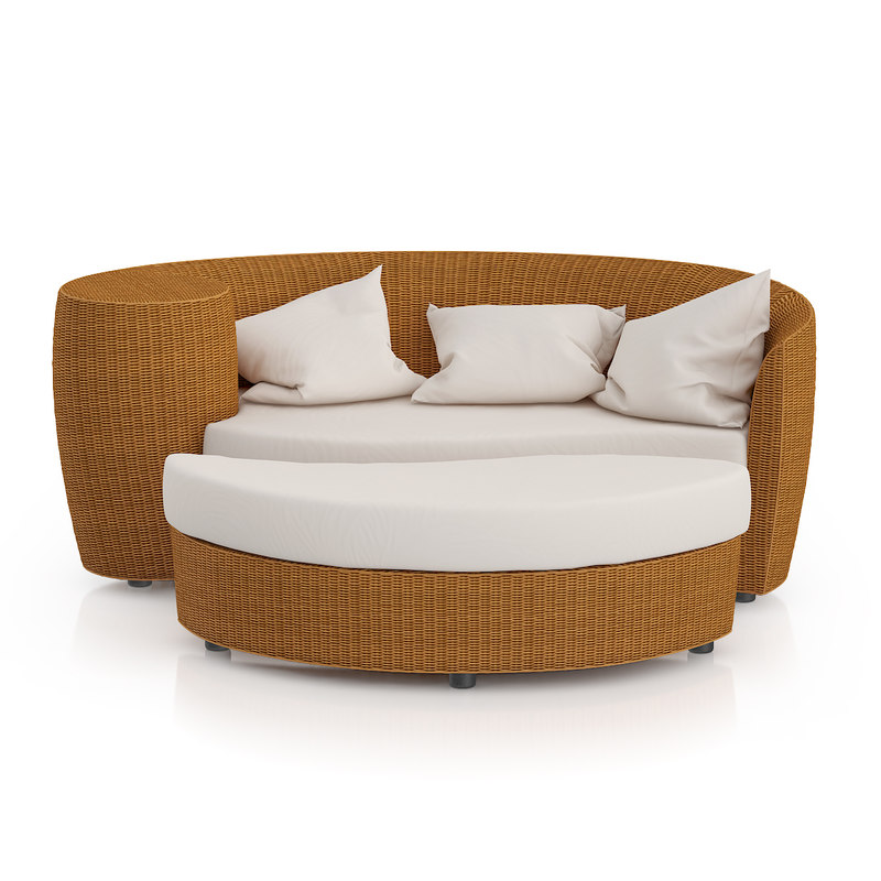 wicker sofa footrest 3d model