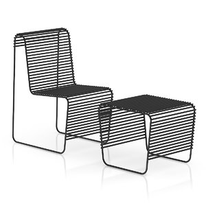 black wire chair footrest 3d max