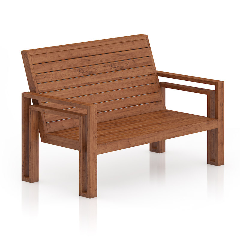 wooden bench 3d c4d