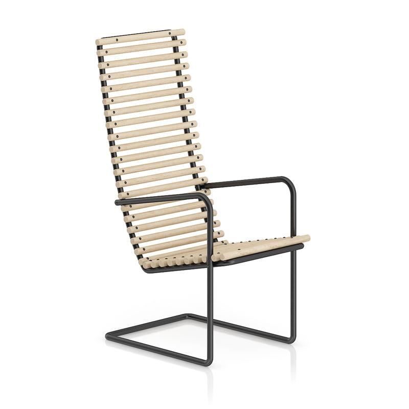 chair wooden black metal 3d c4d