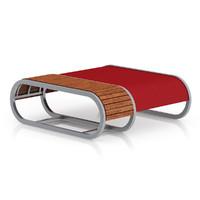 3d modern red footrest