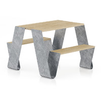 3d model metal table benches