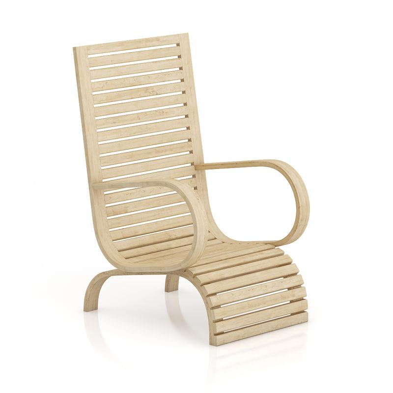 3d light wooden armchair