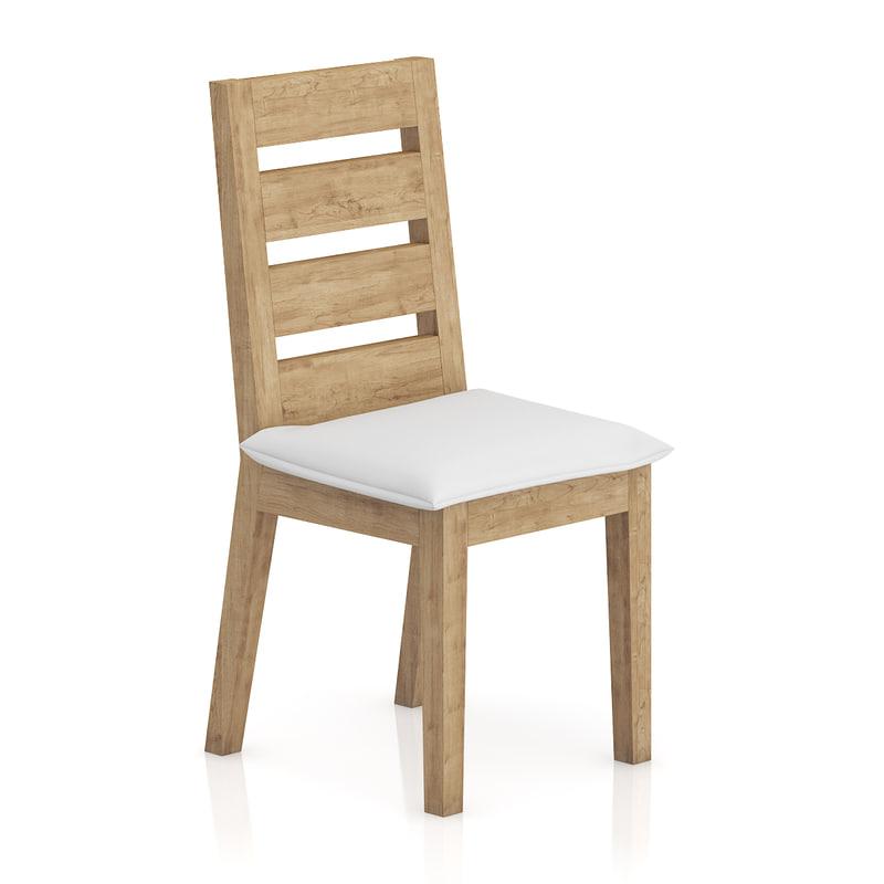 wooden chair pillow seat 3d model