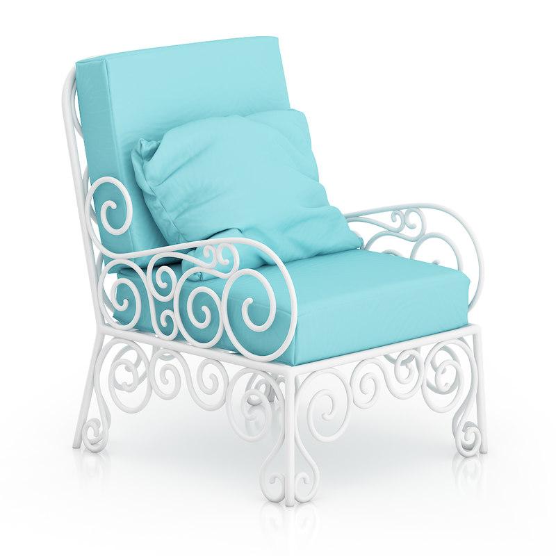 classical white armchair cyan 3d ma