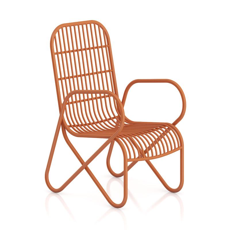 orange armchair obj