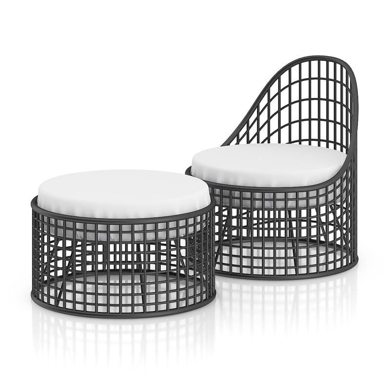 3d black wire chair footrest