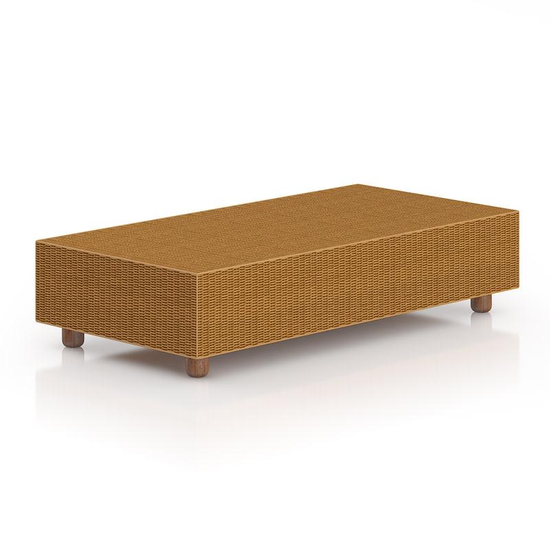 3d model rectangular wicker coffeetable