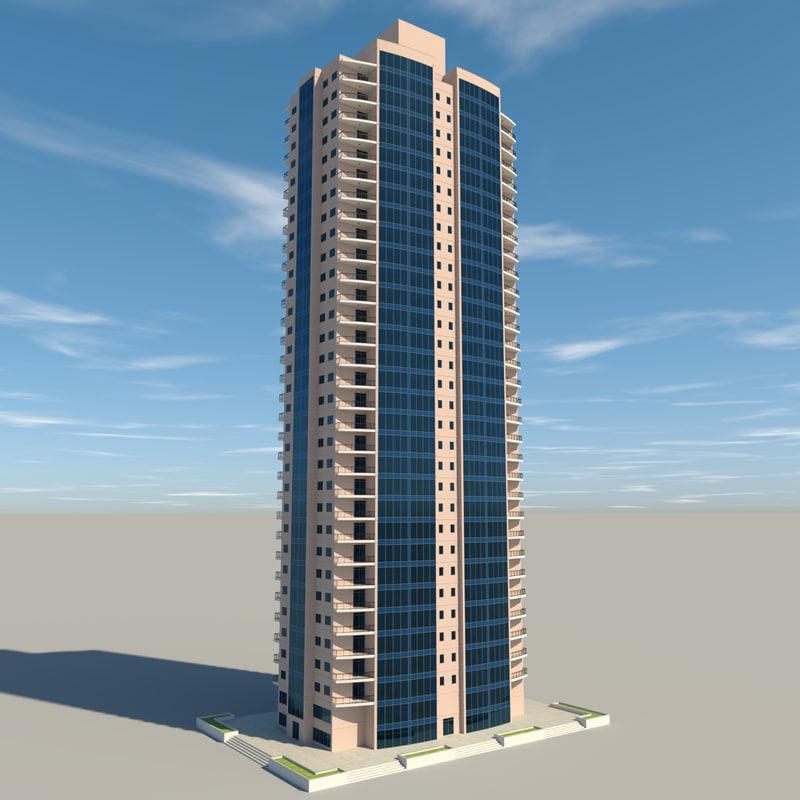 3d residential apartment building model