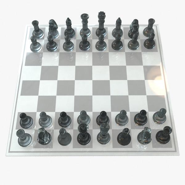 glass chess set pawn 3d obj