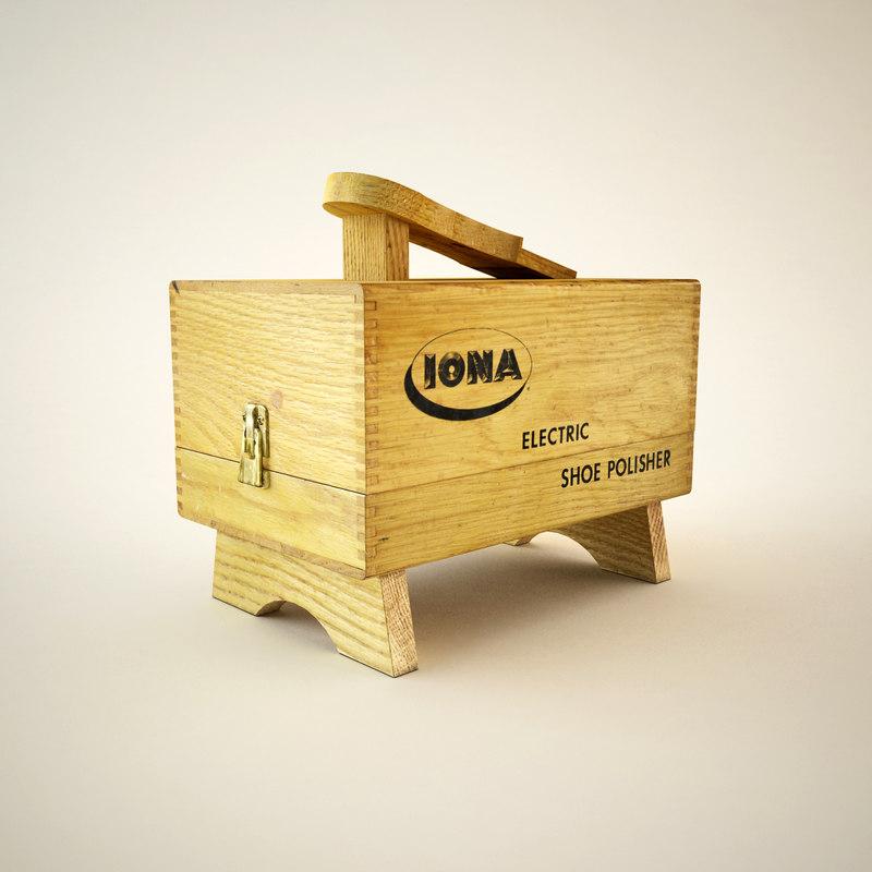 3d model antique shoe cleaning box