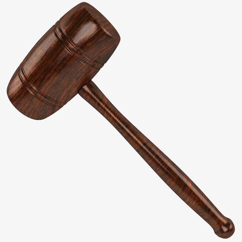 3d wooden mallet wood model