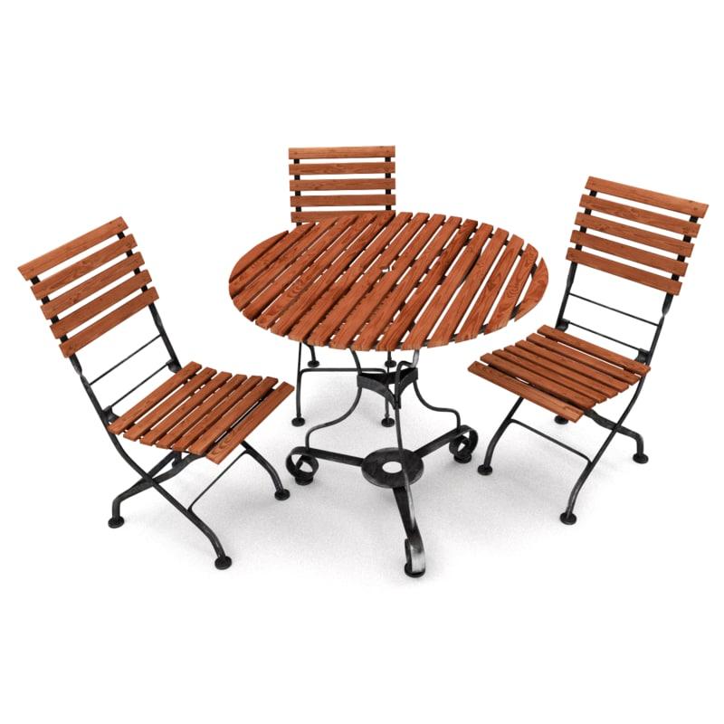 garden table chair furniture 3d model