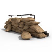 3d sandbags sand model