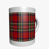plaid coffee mug 3d 3ds
