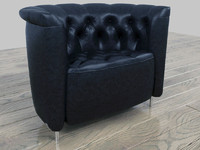 leather chesterfield armchair 3d model