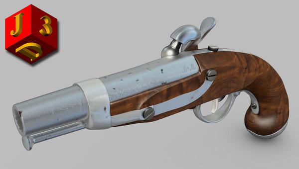 realistic percussion cap pistol gun 3d obj