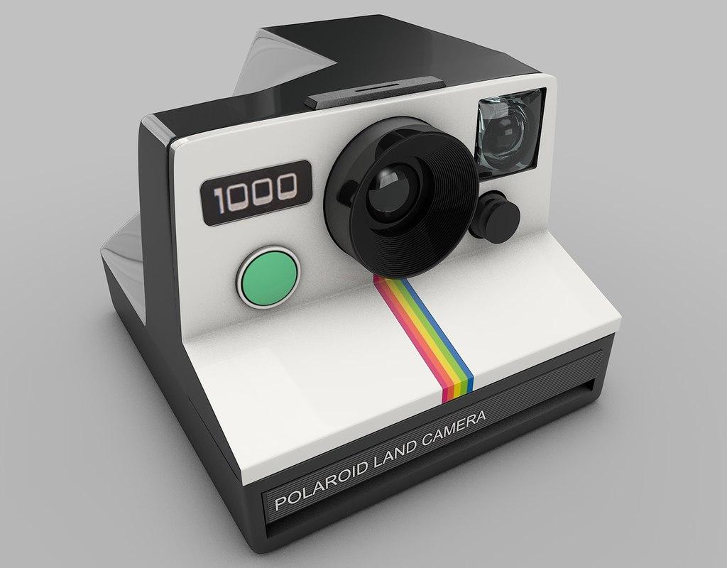 vintage polaroid camera 3d model