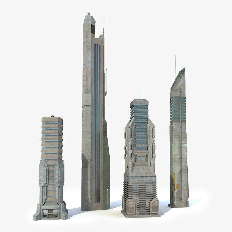 3d sci fi city 4 model