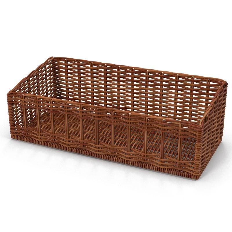 wicker basket 4 3d model