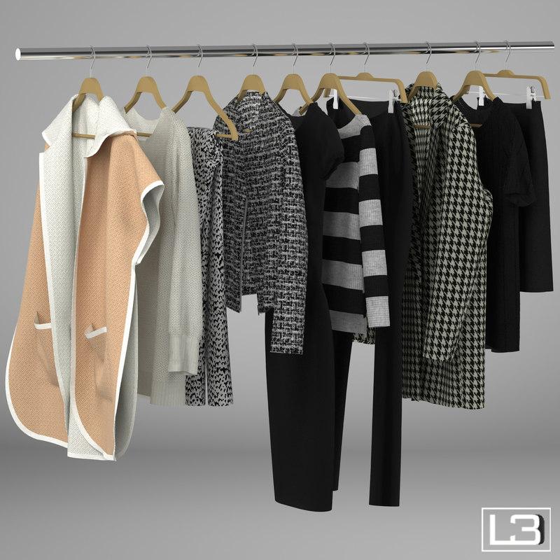 3d model woman clothes hangers