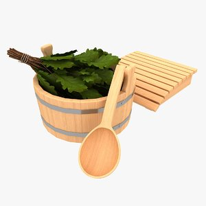 3d sauna accessories model