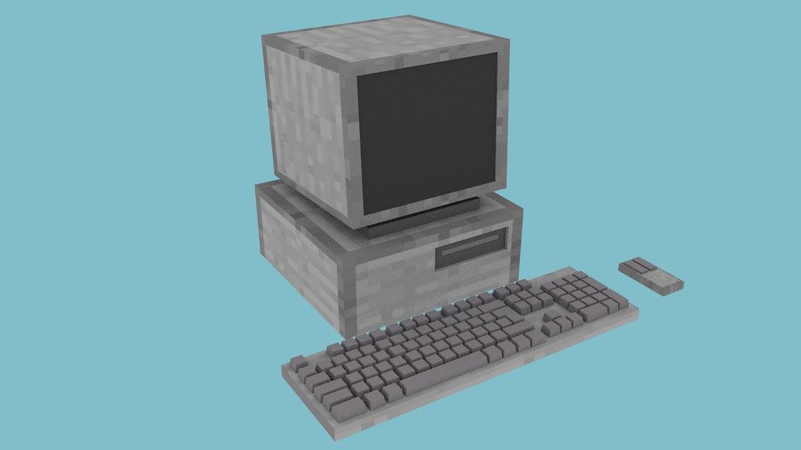 3d computer minecraft model