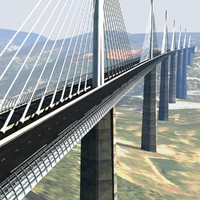 3d model of millau viaduct bridge