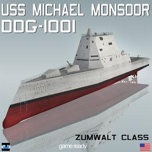 3d 3ds uss michael monsoor ddg-1001