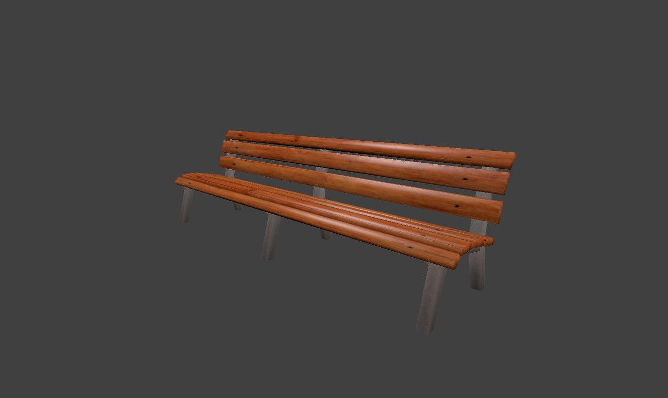 street bench 3d obj