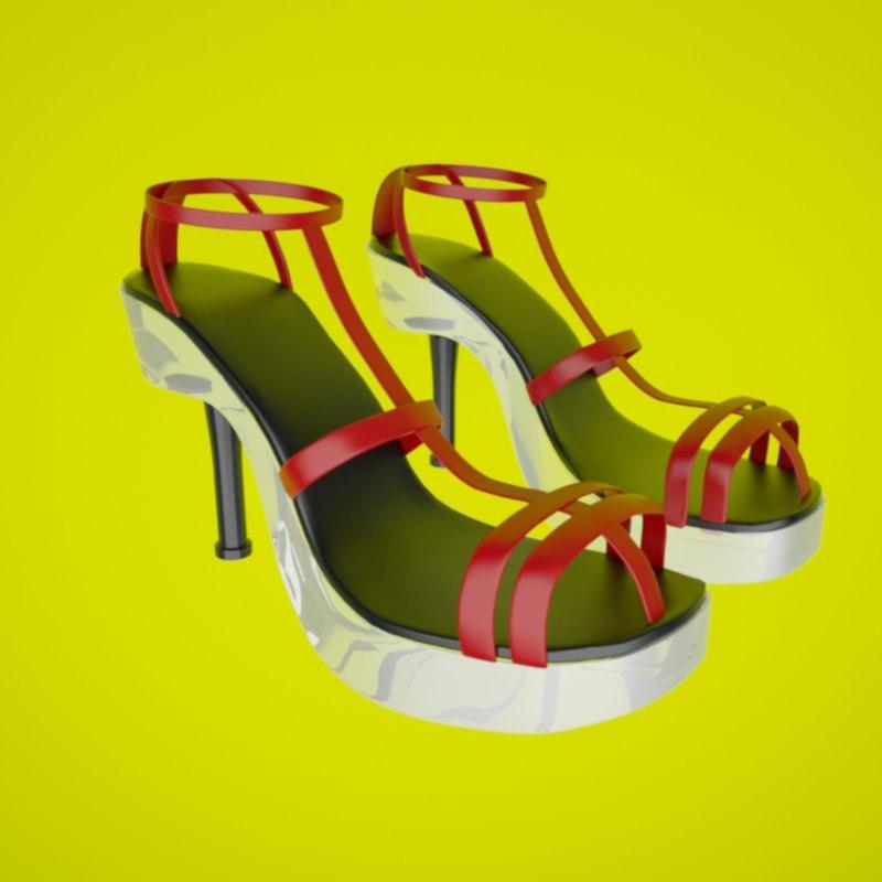 womans shoes 3d max