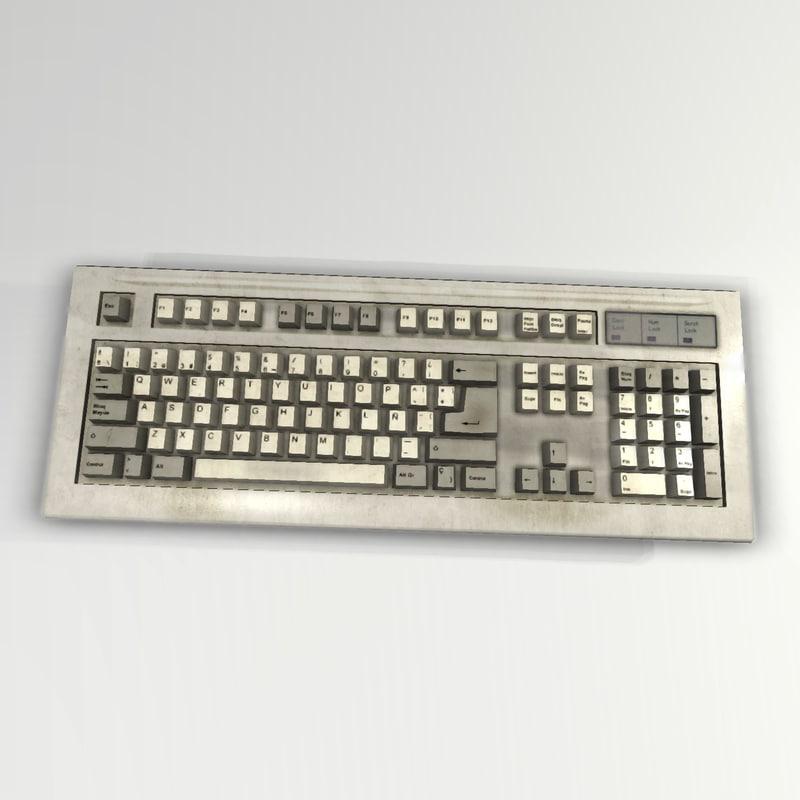 old keyboard 3d model