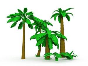 3d model cartoon palms tree