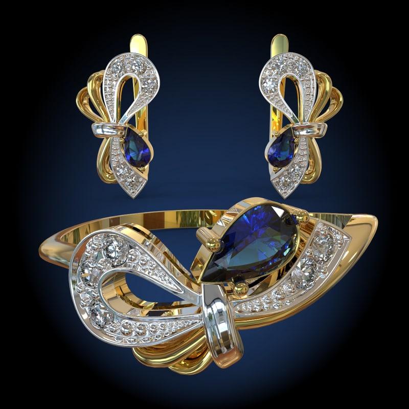 ring gold earrings obj