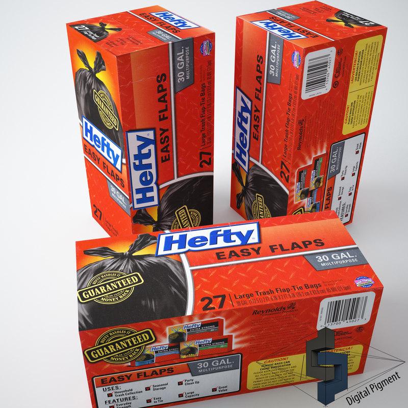 3d hefty easy flap trash model