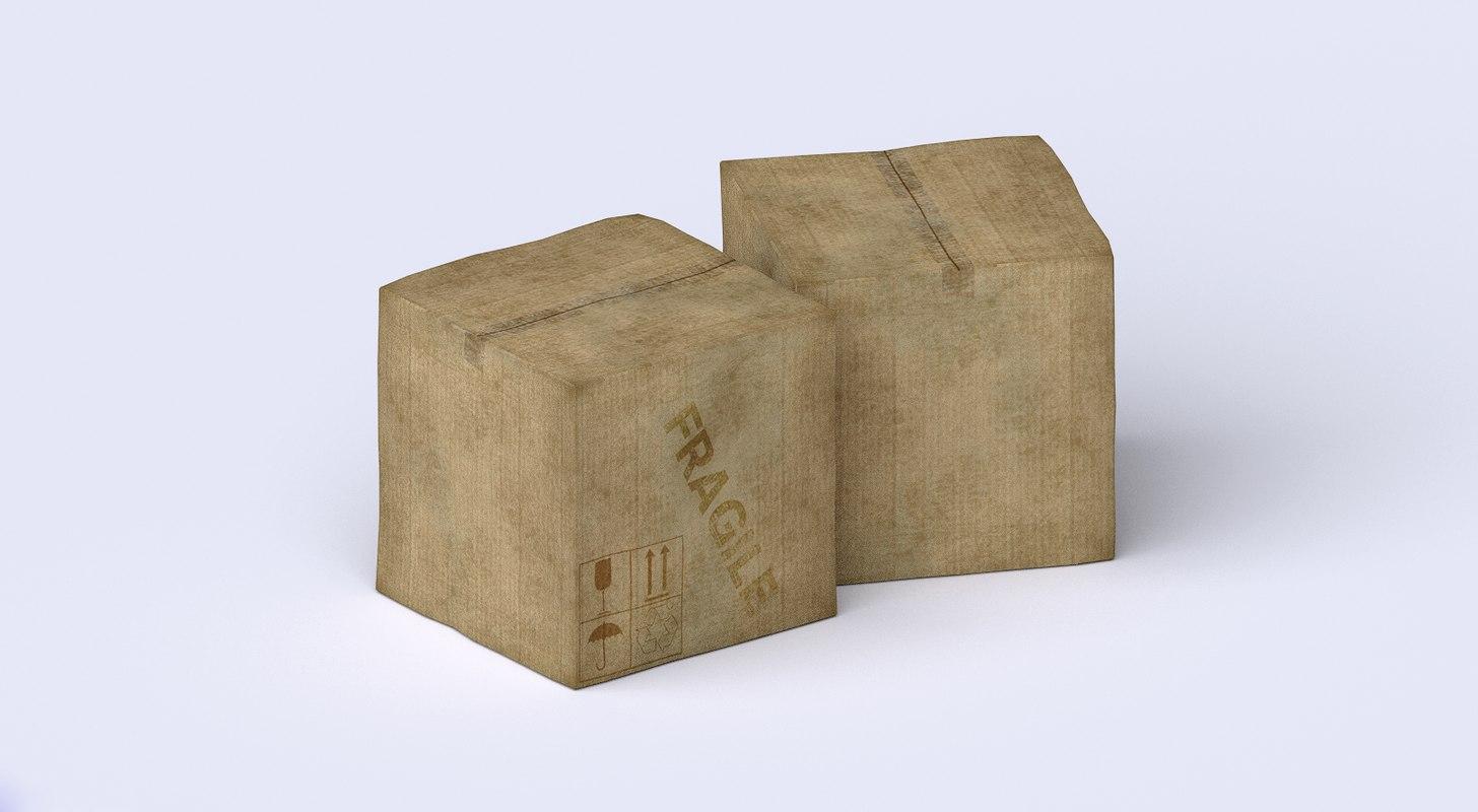 obj weathered cardboard box