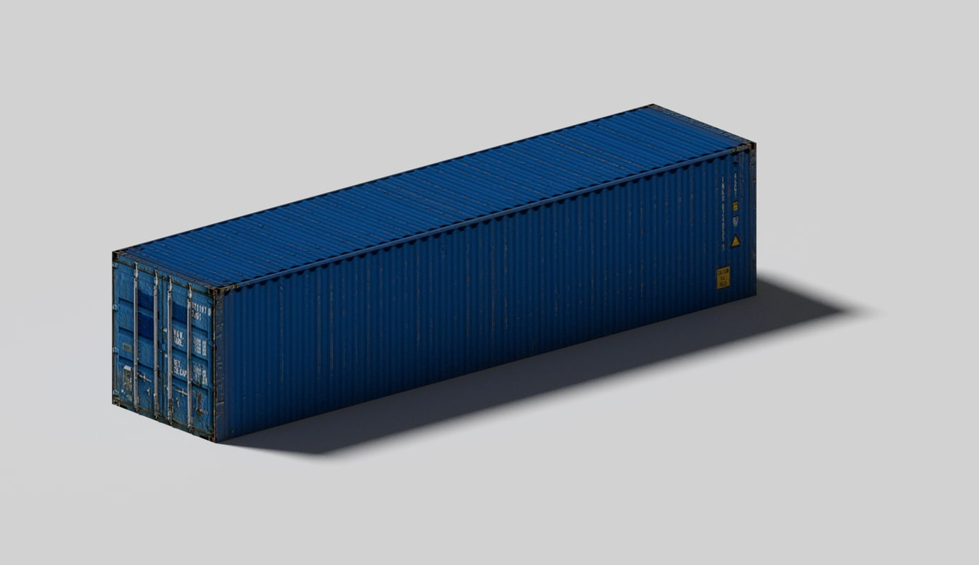 blue shipping container 3d model