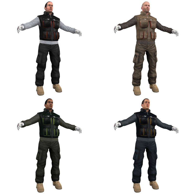 3d model pack worker man