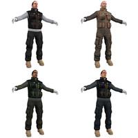 3d model pack worker man