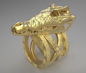 printable crocodile skull ring obj